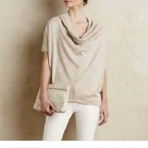 Anthropologie | Knitted & Knotted Cowl Neck Top